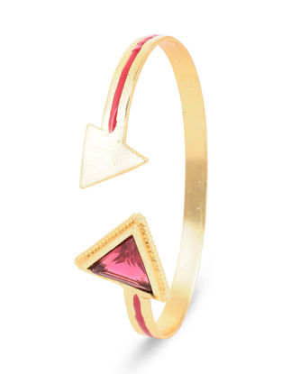 Gold-plated Brass Cuff with Pink Tourmaline