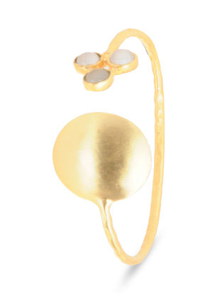 Gold-plated Brass Cuff with Moonstone