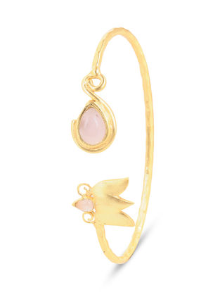 Gold-plated Brass Cuff with Rose Quartz