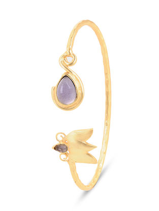 Gold-plated Brass Cuff with Amethyst