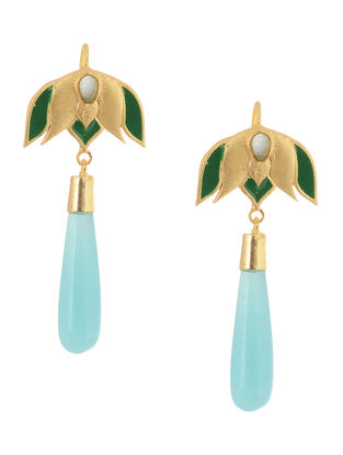 Green Enameled Gold-plated Brass Earrings with Aqua Jade
