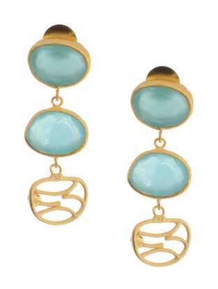 Gold-plated Brass Earrings with Aqua