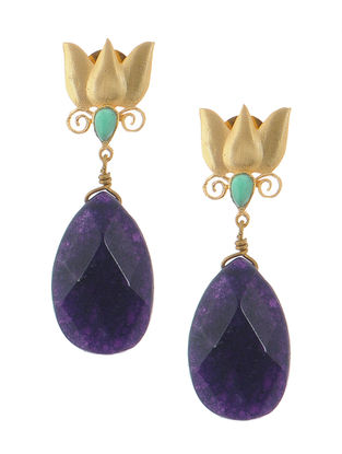 Green Onyx and Amethyst Gold-plated Brass Earrings with lotus Design
