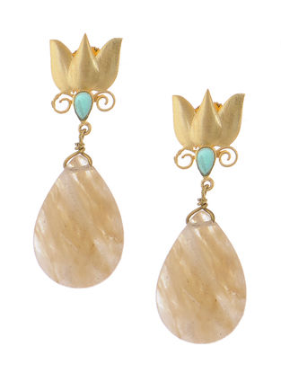 Green Onyx and Rutile Gold-plated Brass Earrings with lotus Design