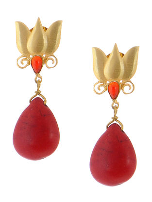 Red Onyx Gold-plated Brass Earrings with lotus Design