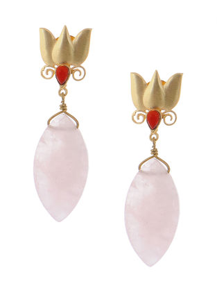 Red Onyx and Rose Quartz Gold-plated Brass Earrings with lotus Design