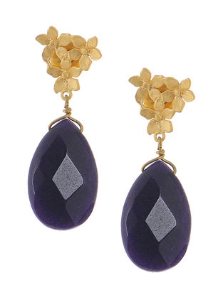 Purple Gold-plated Brass Earrings with Flower Design
