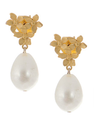 Pearl Drop Gold-plated Brass Earrings with Flower Design