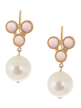 Rose Quartz and Pearl Drop Gold-plated Brass Earrings