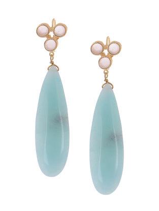 Rose Quartz and Aqua Drop Gold-plated Brass Earrings