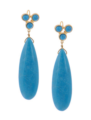 Haolite and Turquoise Gold-plated Brass Earrings
