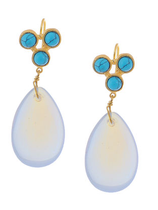 Turquoise and Moonstone Gold-plated Brass Earrings