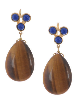 Tigers Eye and Lapis Lazuli Gold-plated Brass Earrings
