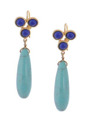 Haolite and Lapis Lazuli Gold-plated Brass Earrings