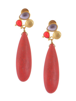 Coral Gold-plated Brass Earrings
