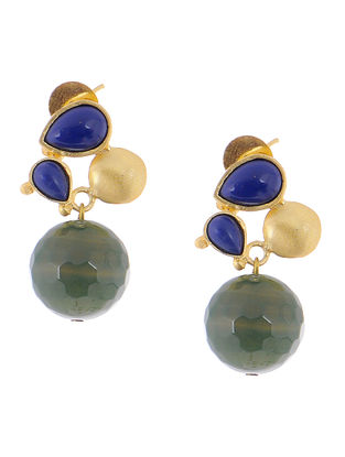 Lapis Lazuli and Green Quartz Gold-plated Brass Earrings