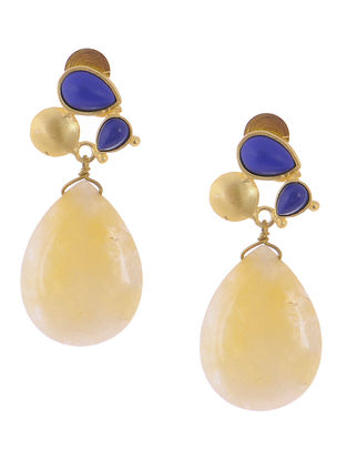 Lapis Lazuli and Quartz Gold-plated Brass Earrings