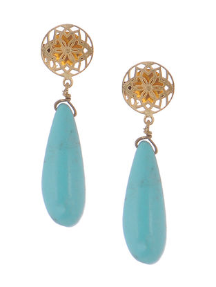 Haolite Gold-plated Brass Earrings with Jali Work