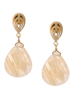Rutile Gold-plated Brass Earrings with Jali Work