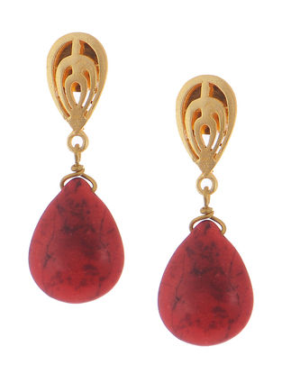 Coral Gold-plated Brass Earrings with Jali Work