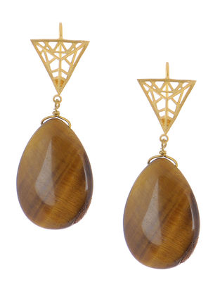 Tigers Eye Gold-plated Brass Earrings with Jali Work