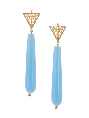 Aqua Gold-plated Brass Earrings with Jali Work