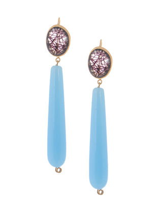 Black Rutile and Aqua Gold-plated Brass Earrings