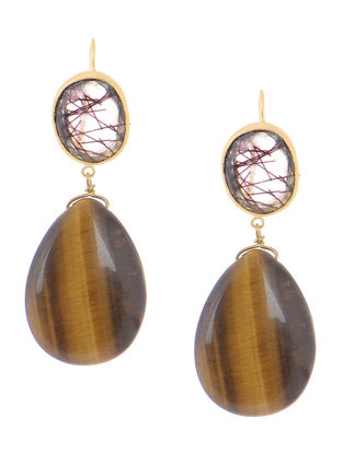 Black Rutile and Tigers Eye Gold-plated Brass Earrings