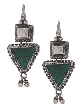 Green Glass Silver Earrings