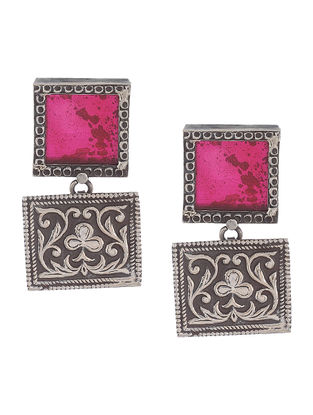 Pink Glass Silver Earrings with Floral Motif