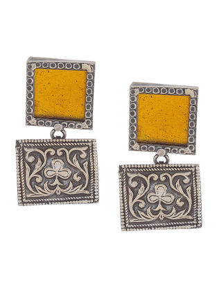 Yellow Glass Silver Earrings with Floral Motif