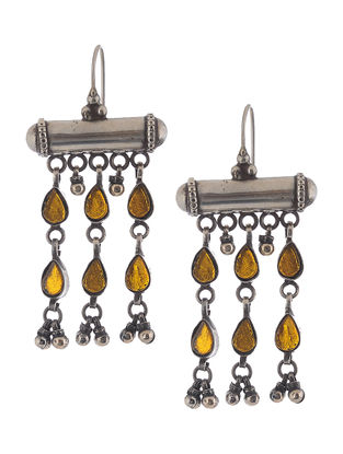 Yellow Glass Silver Earrings