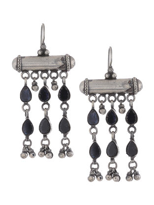 Black Glass Silver Earrings