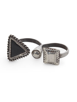 Black Glass Adjustable Silver Ring