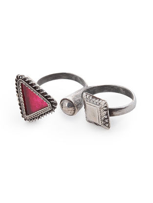 Pink Glass Adjustable Silver Ring