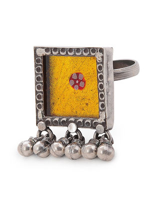 Yellow Glass Adjustable Silver Ring
