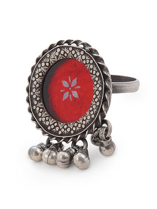 Red Glass Adjustable Silver Ring