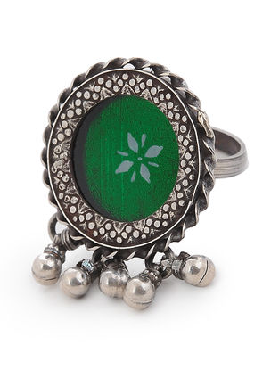Green Glass Adjustable Silver Ring