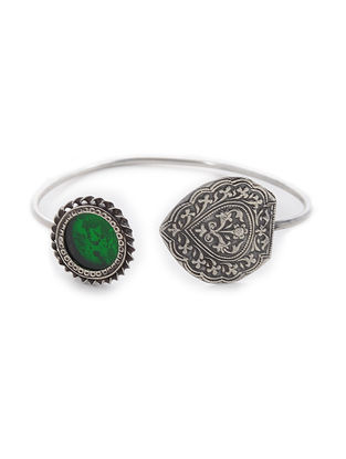 Green Glass Silver Cuff with Floral Motif