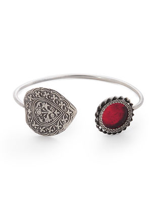 Red Glass Silver Cuff with Floral Motif