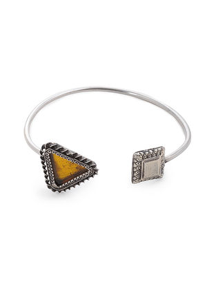 Yellow Glass Silver Cuff