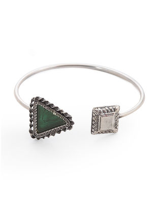 Green Glass Silver Cuff
