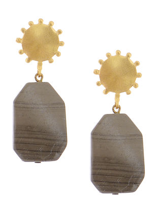 Grey Agate Gold-plated Brass Earrings