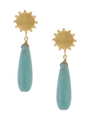 Blue Haolite Gold-plated Brass Earrings
