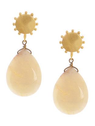 White Quartz Gold-plated Brass Earrings