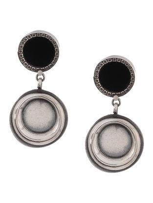 Black Glass Enameled Tribal Silver Earrings