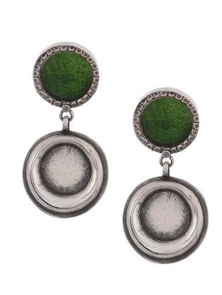 Green Glass Enameled Tribal Silver Earrings