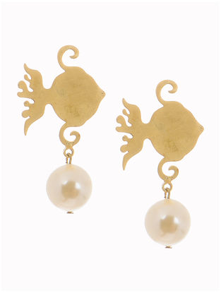 Gold-plated Brass and Pearl Earrings with Fish Design