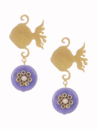 Blue Gold-plated Brass and Pearl Earrings with Fish Design