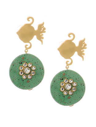 Turquoise Gold-plated Brass and Pearl Earrings with Fish Design